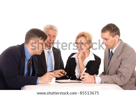 portrait of a good team work at office - stock photo
