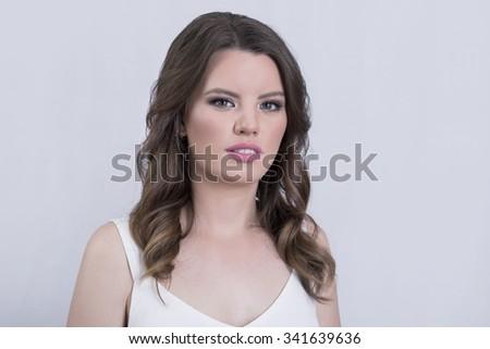 Portrait of a gorgeous brunette  - stock photo