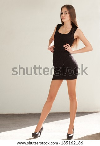 Portrait of a gorgeous fashionable slim brunette beauty. - stock photo