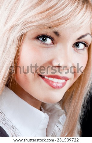 Portrait of a gorgeous young beautiful girl with white hair, isolated on black background - stock photo