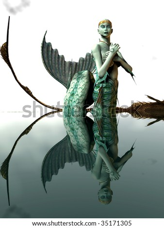 Portrait of a Gothic Mermaid reflecting in the calm waters, Illustration - stock photo