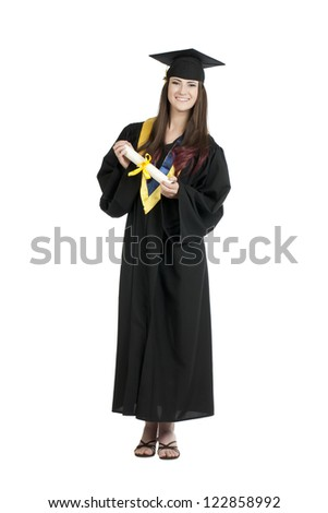 Portrait of a graduating female holding her diploma standing on a white surface