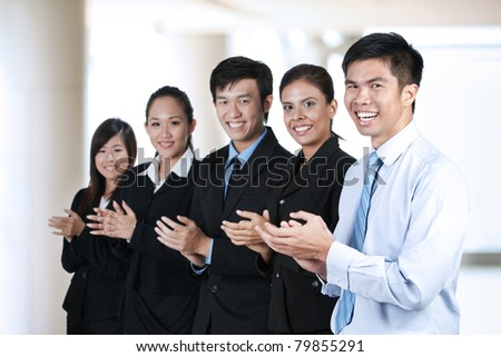 Portrait of  a group of Asian business people - stock photo