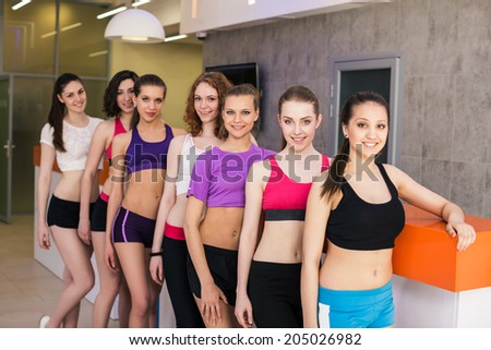 Portrait of a group of fitness class at a reception