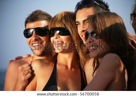Portrait of a group of friends at the beach