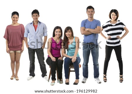 Portrait of a group of Happy Chinese people in there 20's. Isolated over white background - stock photo