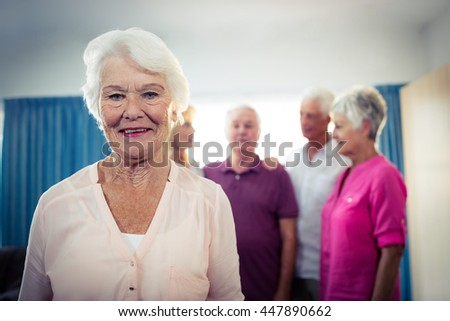 Portrait of a group of seniors in the retirement house