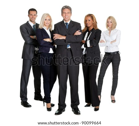 Portrait of a group of successful business people together on white background - stock photo