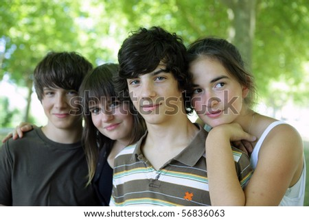Portrait of a group of teenagers - stock photo