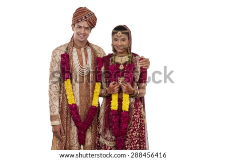 Portrait of a Gujarati bride and groom