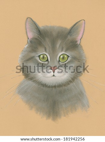 Portrait of a hand drawn cute cat in a pastel