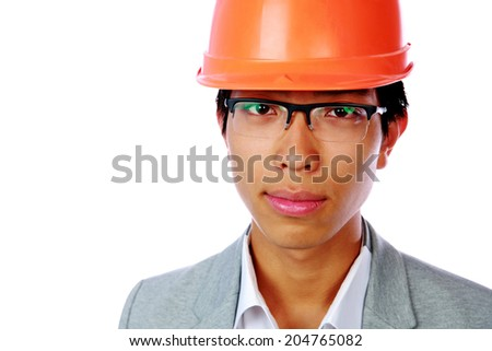 Portrait of a handsoem asian man in helmet over white background - stock photo