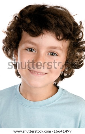 Portrait of a handsome boy with blue shirt on a white background