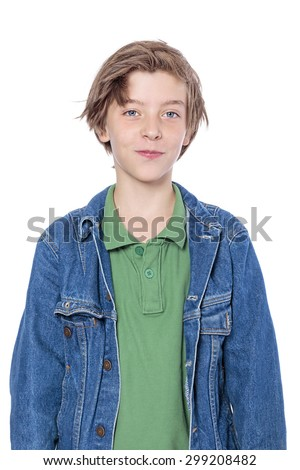 portrait of a handsome boy with denim jacket, isolated on white - stock photo