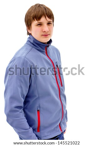 Portrait of a handsome guy in a  jacket. Blond hair. White background - stock photo