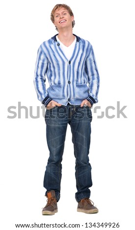 Portrait of a handsome guy with hands in pocket