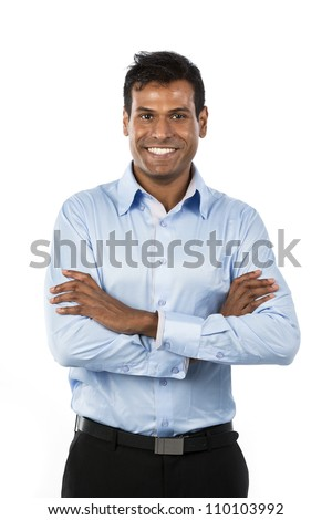 Portrait of a handsome Indian Business man. Isolated on a white background. - stock photo