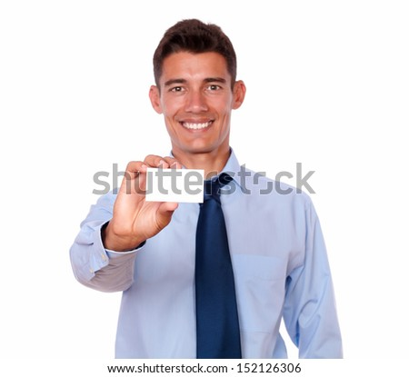 Portrait of a handsome male holding blank business card of copyspace on white background