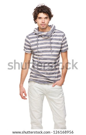Portrait of a handsome man in stripes - stock photo