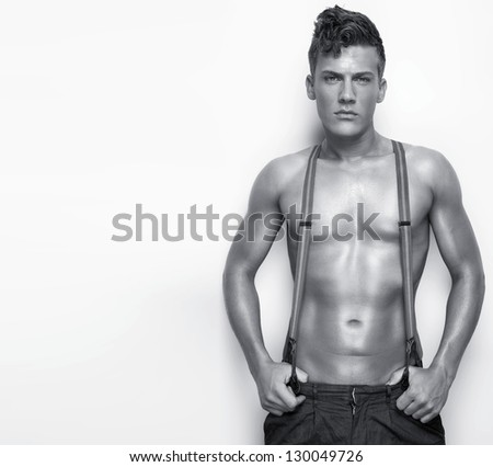 Portrait of a handsome man undressed - black and white - stock photo