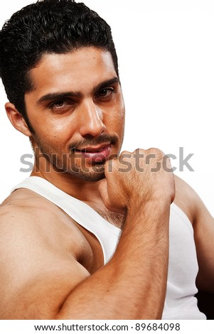 portrait of a handsome man with smile, Indian man with a muscular body