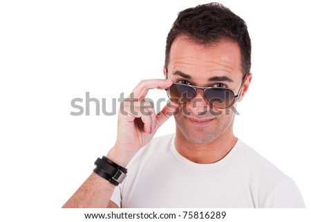 Portrait of a handsome mature man with sun glasses thinking, on white background. Studio shot - stock photo