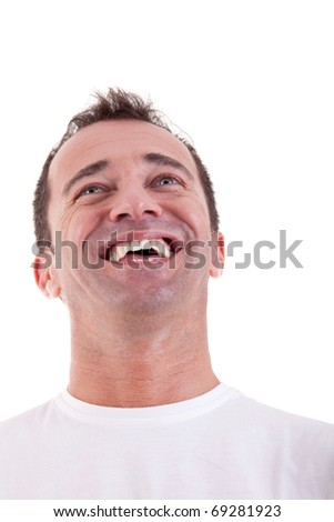Portrait of a handsome middle-age man happy, on white background. Studio shot - stock photo