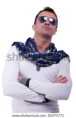 Portrait of a handsome middle-age man, with sun glasses on white background. Studio shot - stock photo