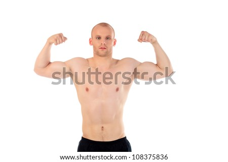 Portrait of a handsome muscular young man. Isolated over white.