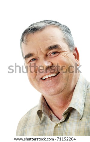 Portrait of a handsome older man looking at camera and smiling - stock photo