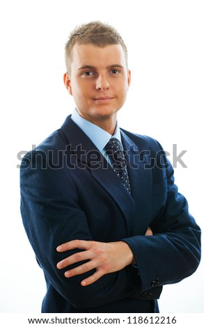 Portrait of a handsome young male entrepreneur showing thumbs up sign against white background - stock photo
