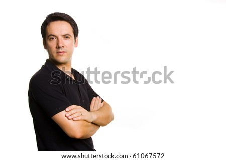 Portrait of a handsome young man, isolated on white background - stock photo