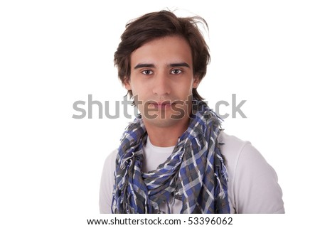 Portrait of a handsome young man, looking to camera, on white background. Studio shot - stock photo