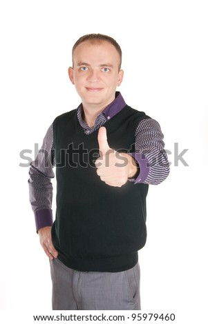 Portrait of a handsome young man showing thumbs up sign against white background - stock photo