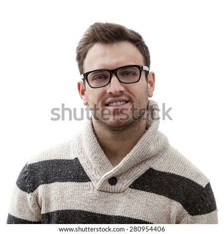 Portrait of a handsome young man smiling, isolated against a white background. - stock photo