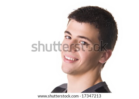 Portrait of a handsome young man, smiling. Isolated on white background. - stock photo