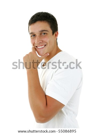Portrait of a handsome young man with a great smile - stock photo