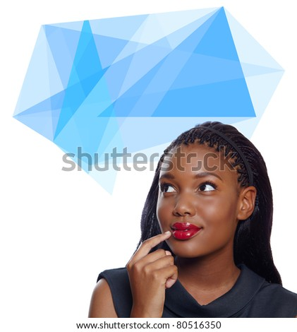 Portrait of a happy African American business woman with hand on face thinking with origami thought bubble
