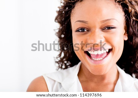 Portrait of a happy African American woman laughing