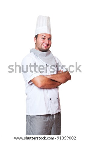 Portrait of a happy and smiling chef isolated on white background - stock photo