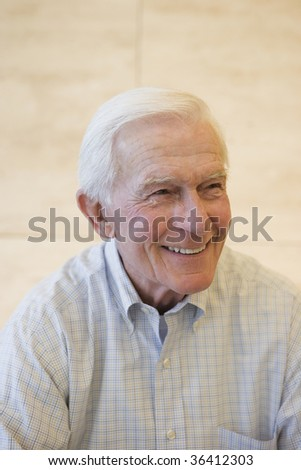 Portrait of a happy and smiling senior businessman. - stock photo