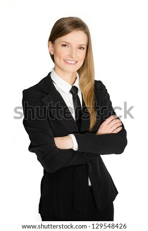 Portrait of a happy and successful middle aged female business executive with crossed arms against white background of woman or worker