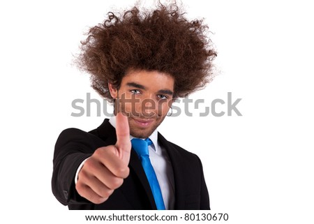 Portrait of a happy and young  business man, with thumb up isolated on white background. Studio shot. - stock photo