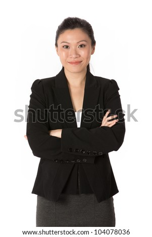 Portrait of a happy Asian business woman. Isolated on a white background. - stock photo