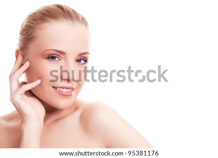 portrait of a happy beautiful smiling woman, isolated against white background