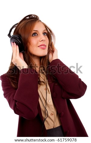 Portrait of a happy beautiful young businesswoman with headphones