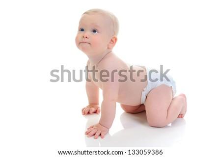 Portrait of a happy blue-eyed child boy. Isolated on white background - stock photo