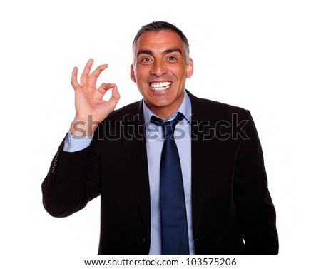 Portrait of a happy boss saying great job with the hand against white background - stock photo