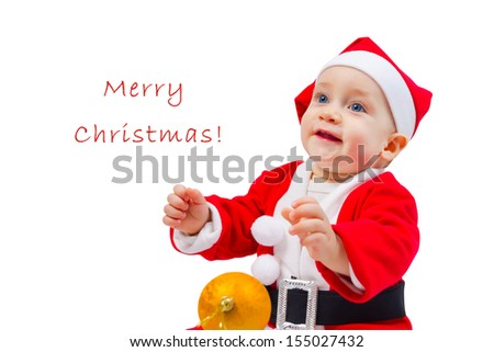 Portrait of a happy boy in the costume of Santa Claus with the decoration for the Christmas tree isolated on white background - stock photo