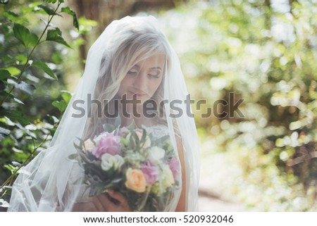 Portrait of a happy bride posing with veil